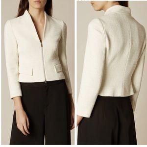 Gorgeous Karen Millen ivory tweed zip jacket - 6